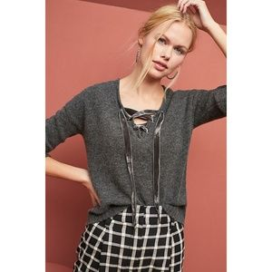 Rails - Charcoal Lace-Up Wool/Cashmere Sweater
